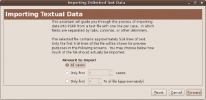 Wizard for importing data to PSPP.